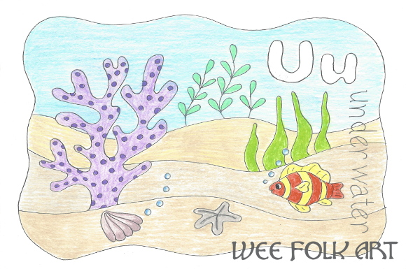 Nature Alphabet Coloring Page Letter U