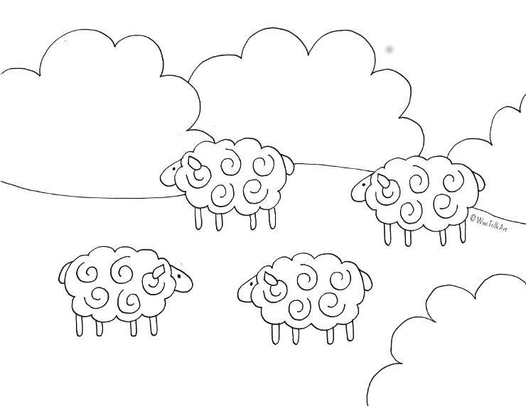barnyard sheep coloring page  wee folk art