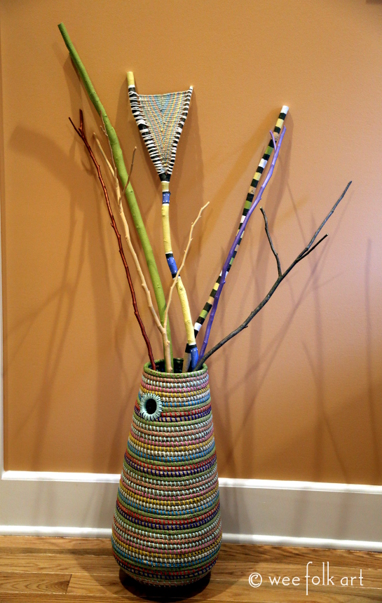 Painted And Woven Stick Bouquet 187 Wee Folk Art