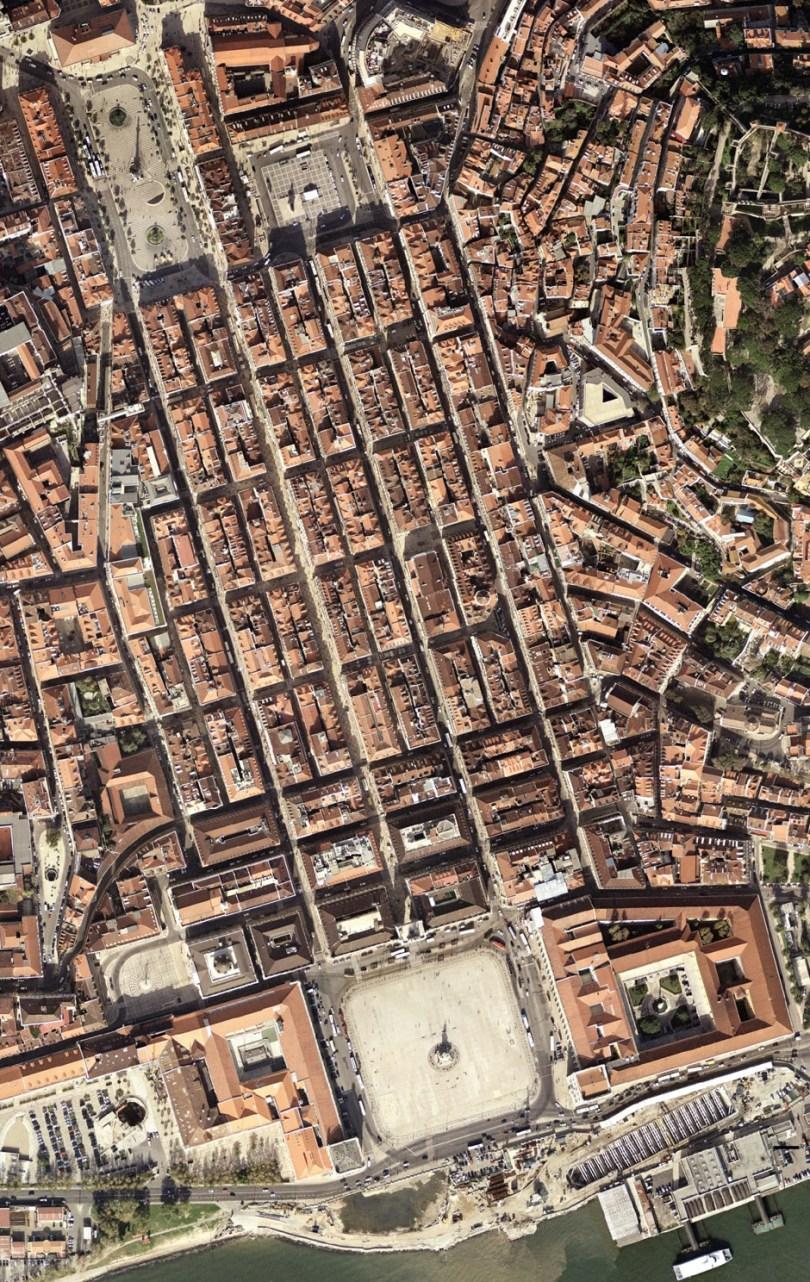 Quartier Baixa de Lisbonne - Vue aerienne