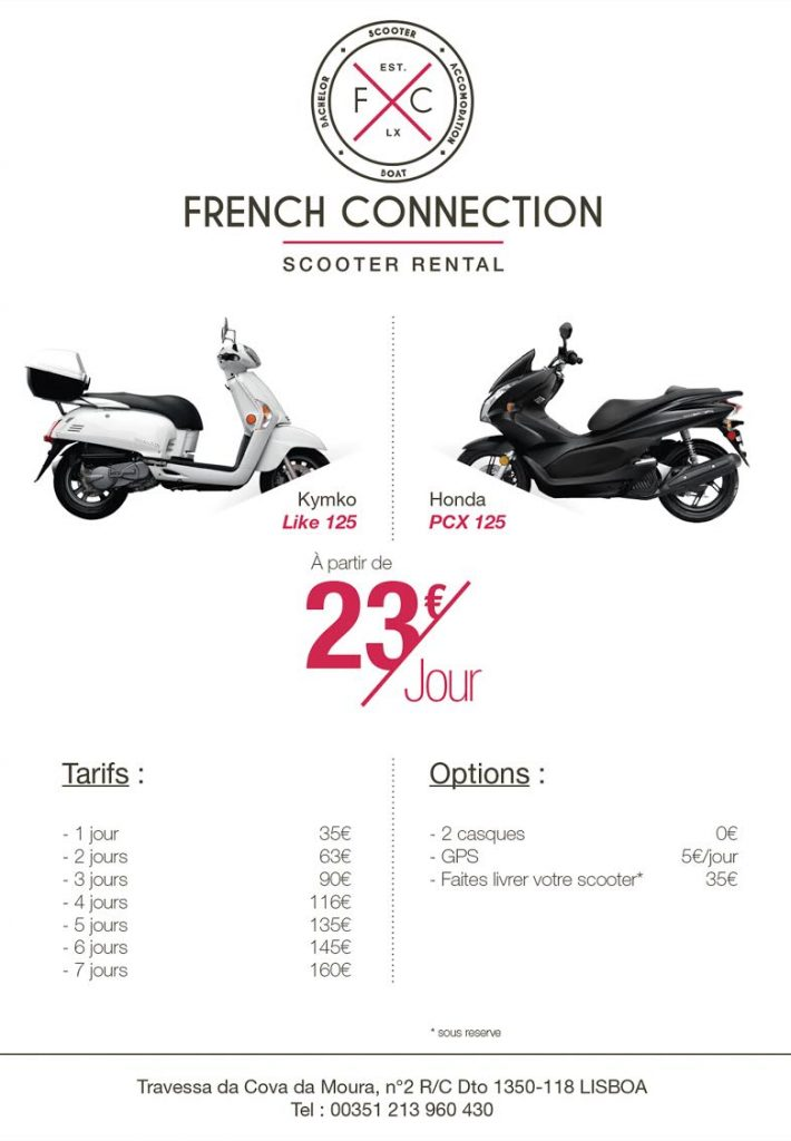 tarifs location scooter French Connection Lisbonne
