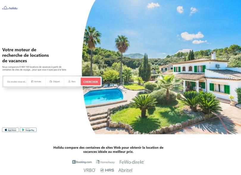 Page accueil Holidu.fr - Comparateur location de vacances