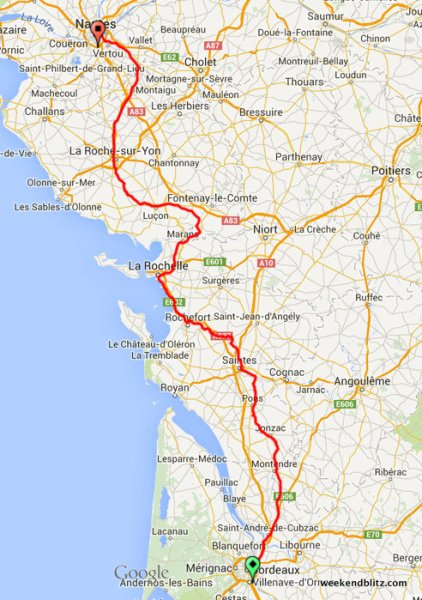 Our actual route, complements of my Garmin GPS watch