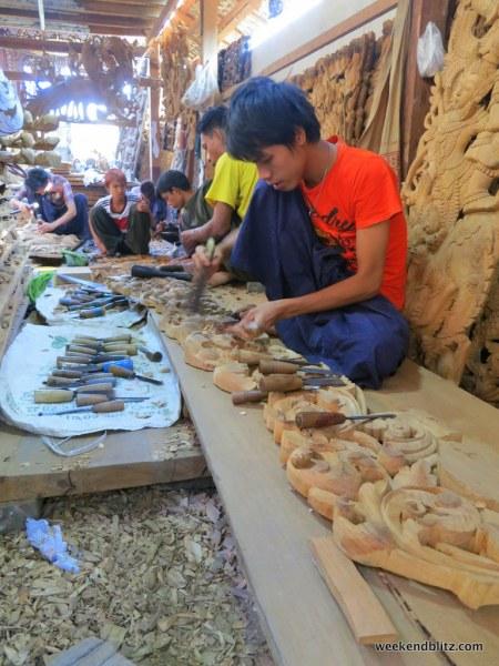 Visiting the wood-carving workshop