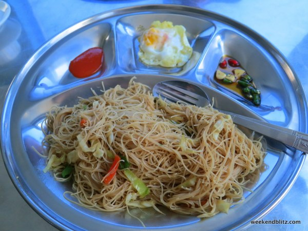 Lunch! Fried vermicelli noodles with plenty of chili and a fried egg. Much better than breakfast!
