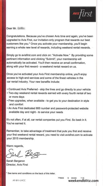 2015-05-02 - Avis First Membership Welcome Letter - Jeffrey copy