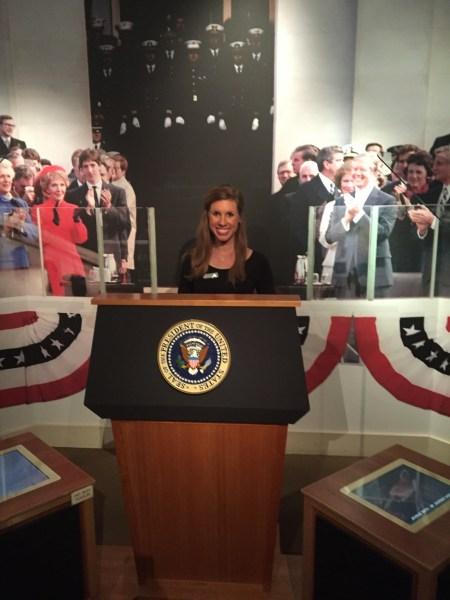 Pretending to be president...