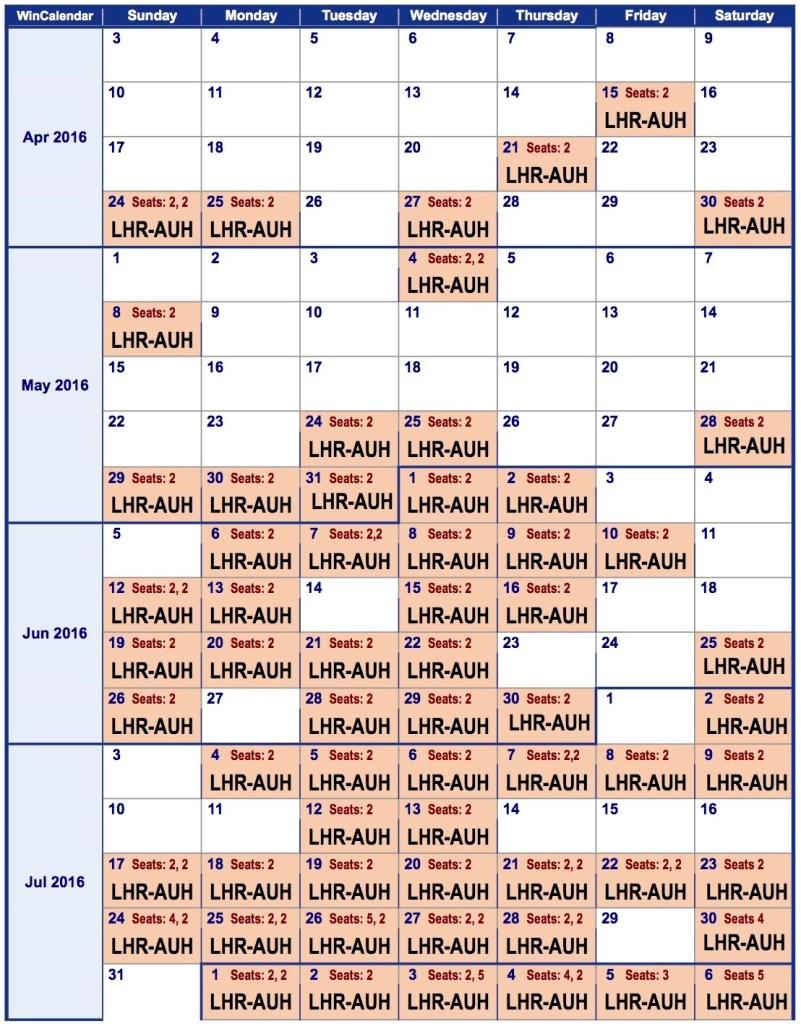 2016 Weekly Calendar lhr-auh 1