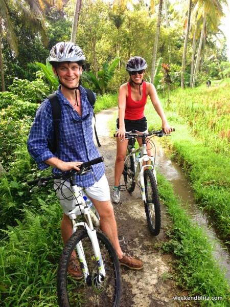 Biking through the rice paddies