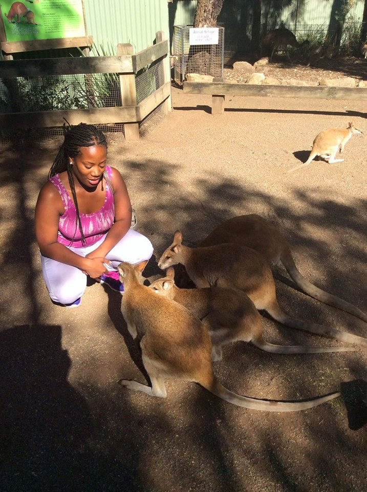 Playing with kangaroos in Australia2