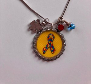 autism awareness, bottle cap necklace