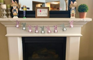 Easter decorations for the mantel.