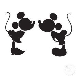 silhouette image of Mickey and Minnie Mouse