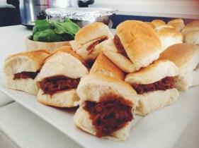 Yummy shredded pork sliders on Hawaiian bread