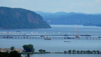 View North of Hook Mountain and Rockland side of Tappan Zee Bridge from the Palisades.