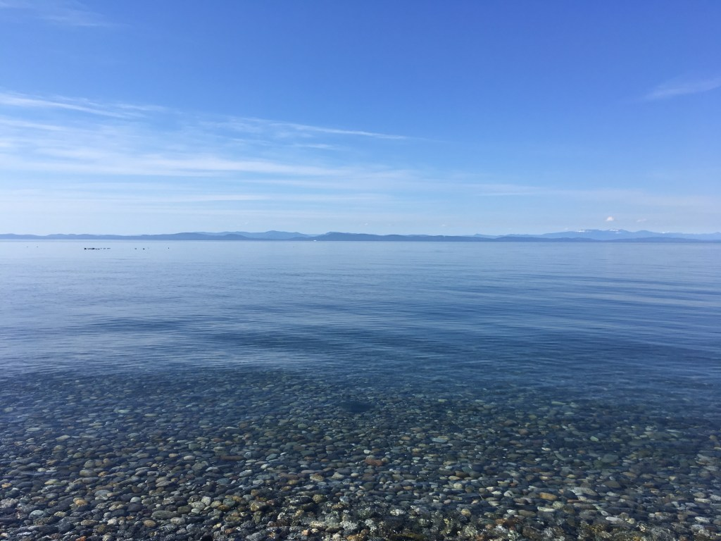 Looking southwest over the strait toward Washington State from Point Roberts' Lighthouse Park