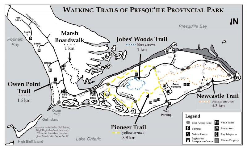 Map of walking trails of Presqu'ile Provincial Park