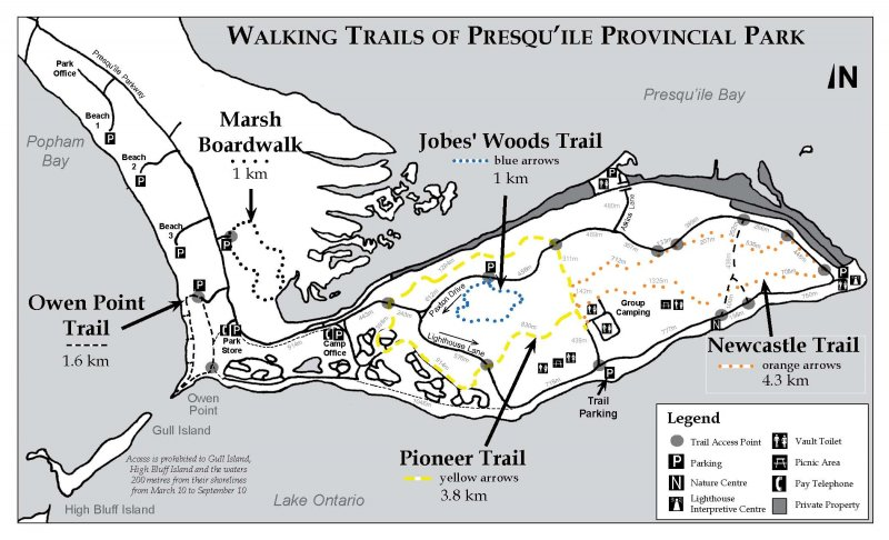 Map of walking trails of Presqu'ile Provincial Park