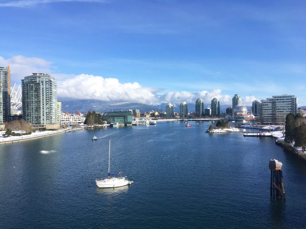 Looking northeast along False Creek from the Cambie bridge