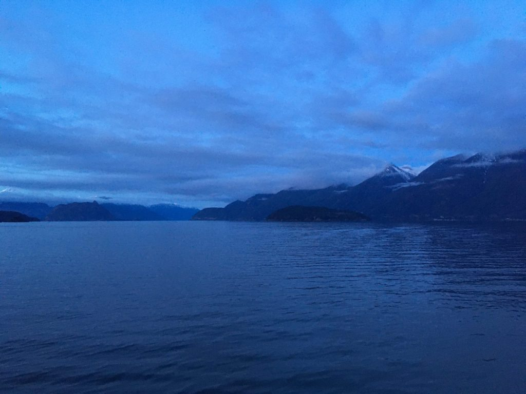 Looking northeast across Howe Sound on our ferry crossing just before sunset