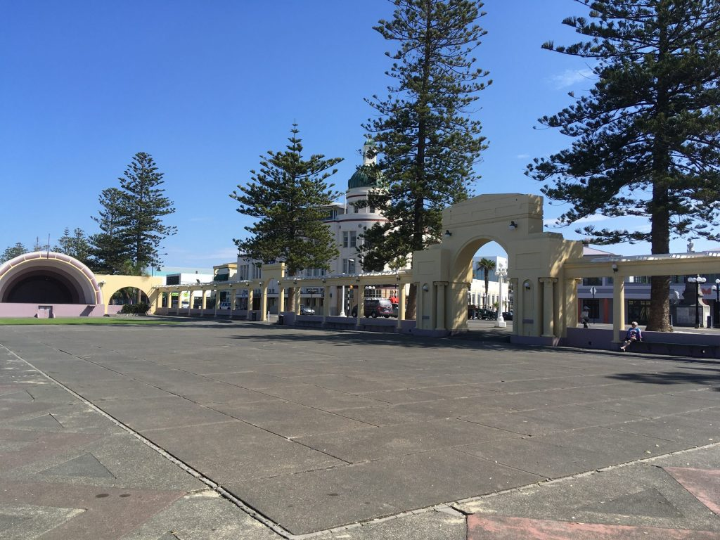 Looking across a square in Taupo toward lots of Art Deco structures