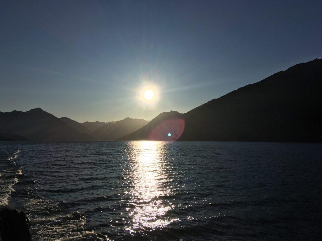 The sun sets over Lake Te Anau