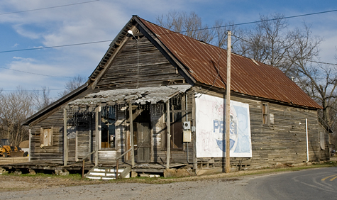 Old store building at Oil Trough AR. Somewhat the worse for wear, but hanging on.