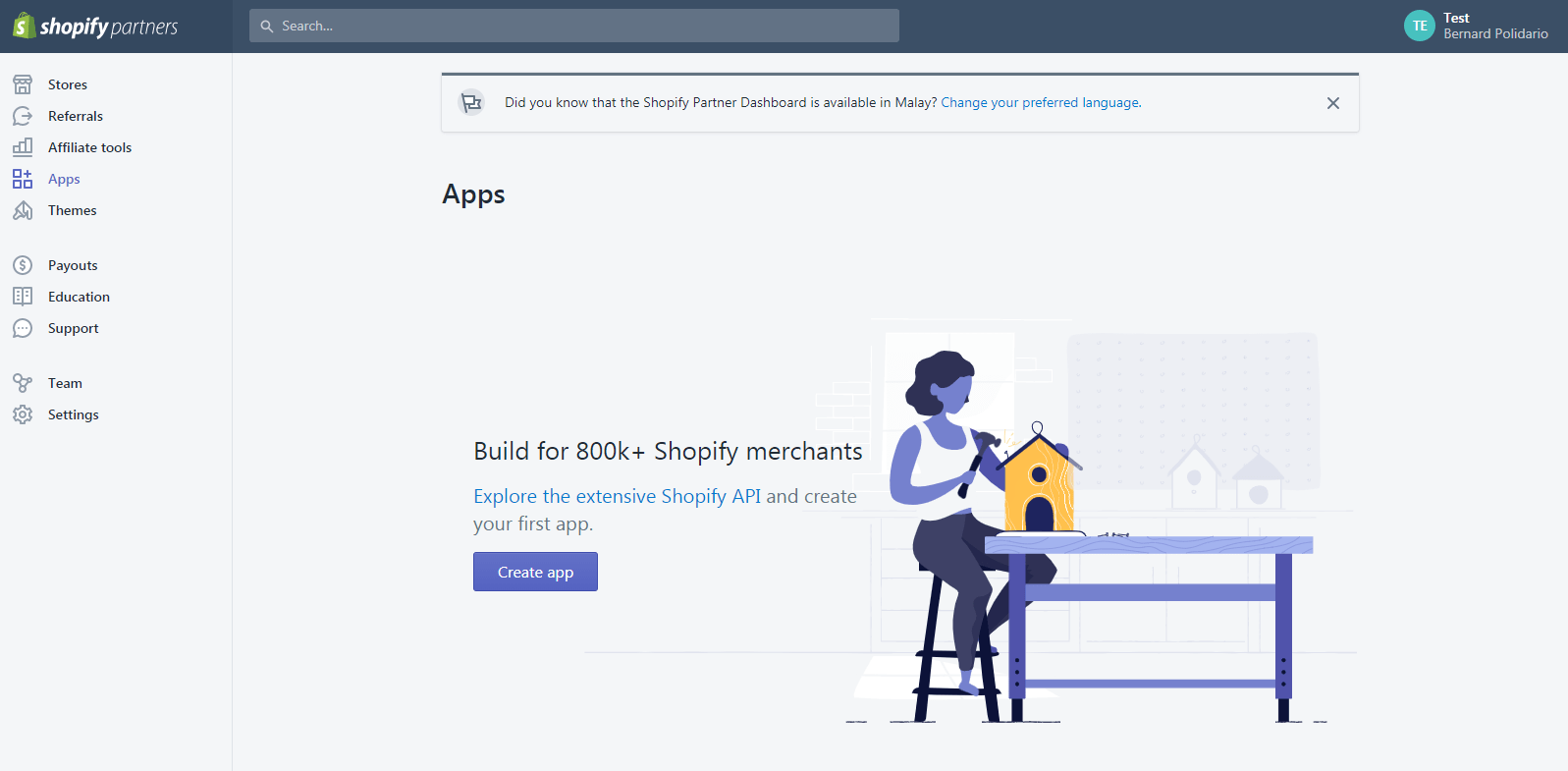 Shopify Partner Dashboard: Create new apps