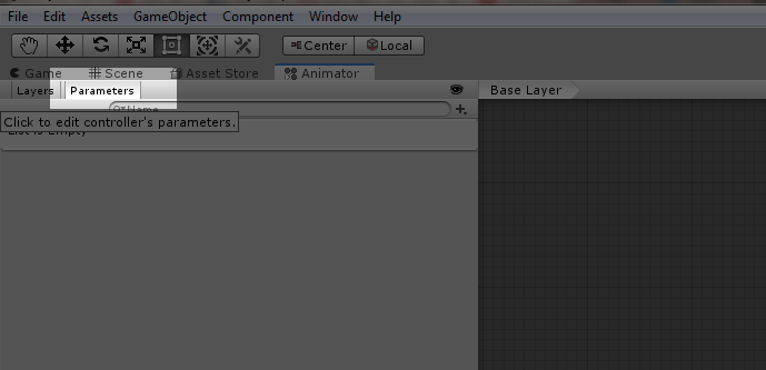 Unity3D Creating Paramaters in Animator window