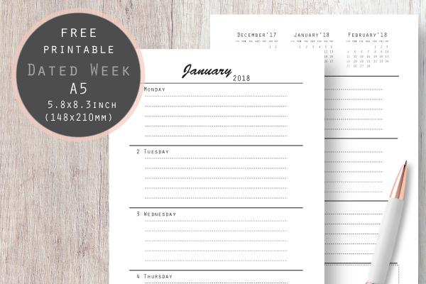 weekly planner 2018