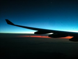 Flying towards dawn over Russia.