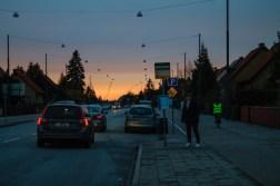 Sunset over Jägersrovägen in Malmö.