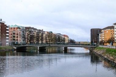 Rain over the canal in Malmö.