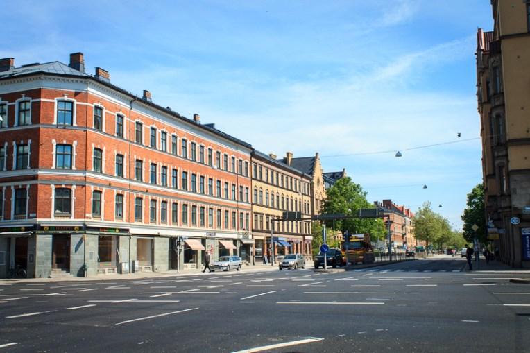 Sun on Thursday at the crossing Föreningsgatan - Amiralsgatan.