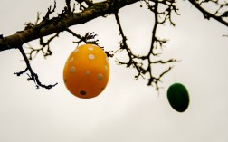 Easter eggs blowing in the strong wind.