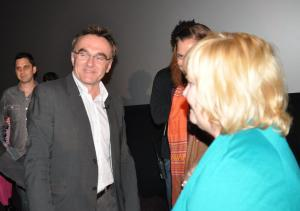 """Danny Boyle and I chatting after """"127 Hours;"""" I gave him a copy of my new book """"It Came from the '70s: From The Godfather to Apocalypse Now."""""""