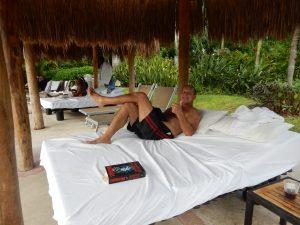 Craig lounging poolside at the Mayan Palace.