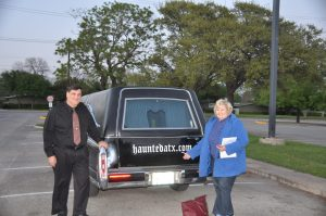 Tour guide Joseph Geaccone and I head for the Haunted Austin hearse to begin the tour on March 25, 2016.