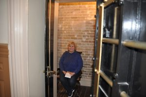 Me in the Driskill Hotel vault.