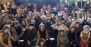 Wide shot of party during Bilbo's Speech.
