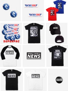 Examples of Weekly World News Merchandise including T-shirts and Hats