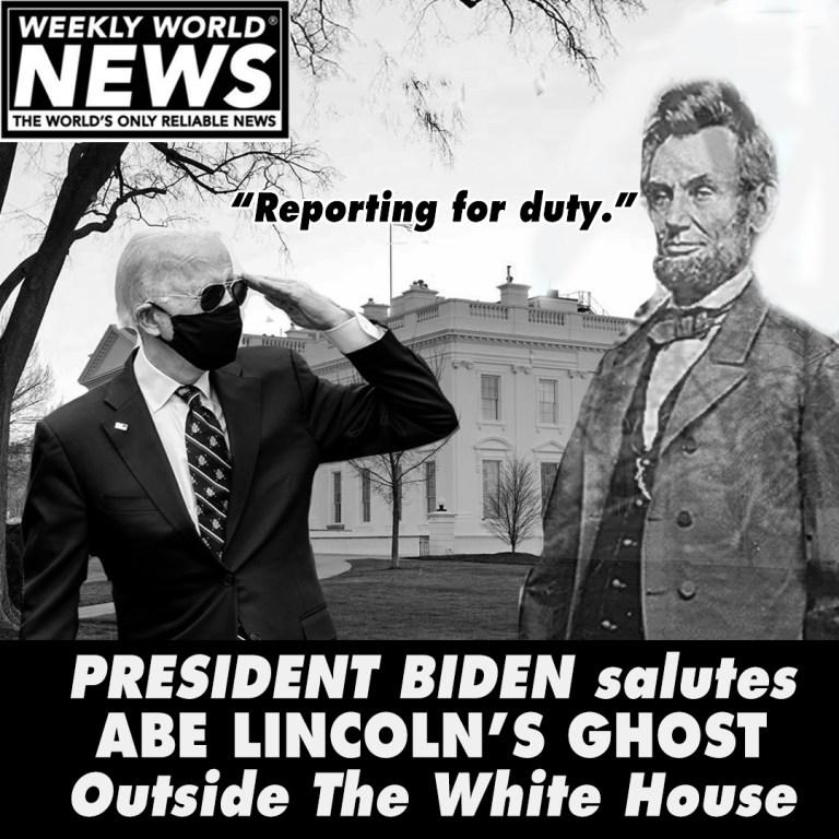 President Biden Salutes Abe Lincolns Ghost