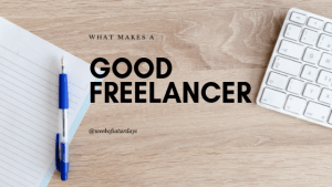 "Blue pen on a white book and laptop with the woords, ""what makes a good freelancer?"""