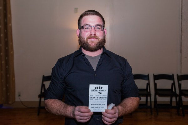 """Woodworker D.J. Shalvey captured the victory after the last """"Show of Hands"""" event. Thanks to Orrick, D.J. walked away with more than $1,000 and was able to make much-needed improvements to his workshop."""