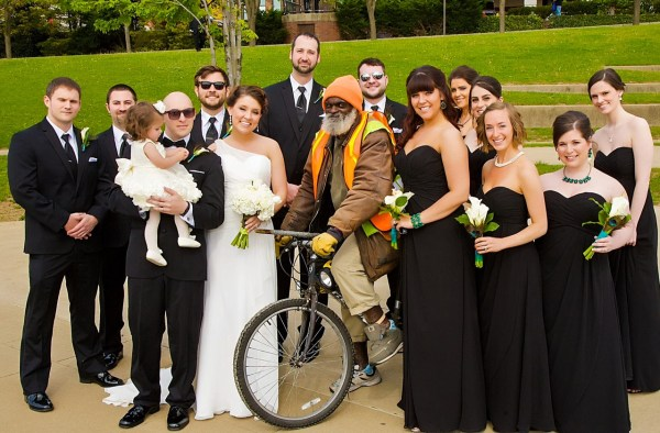 """Allison married her husband, Mat, on May 4, 2013, and while their photographer was taking some shots at Heritage Port, a Wheeling icon (Charles """"Moondog"""" Waldrum) joined them."""