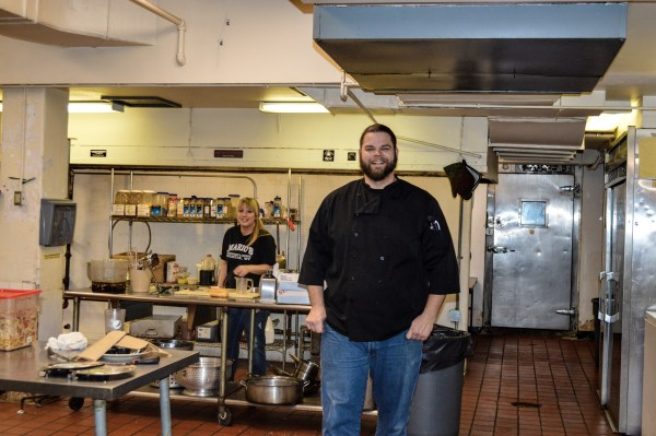 """The """"Vagabond Chef"""" - Matt Welsch - opened the Vagabond Kitchen in the McLure Hotel in June. The restaurant currently employees 15 people, including pastry chef Jamie Moffat (on left)."""