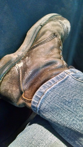 Scatterday's favorite pair of shoes, Doc Martin steel-tips circa 1997.