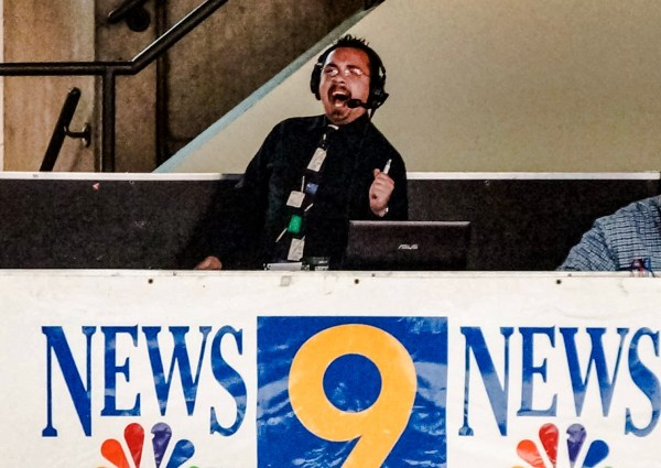 D.J. Abisalih is high-energy when he's doing the play-by-play for the Wheeling Nailers.