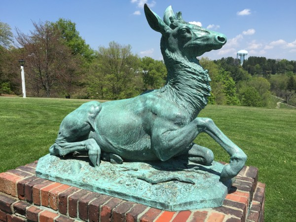 """""""The Stag"""" (aka Bambi) as he sits on his pedestal near the Mansion Museum at Oglebay Park."""