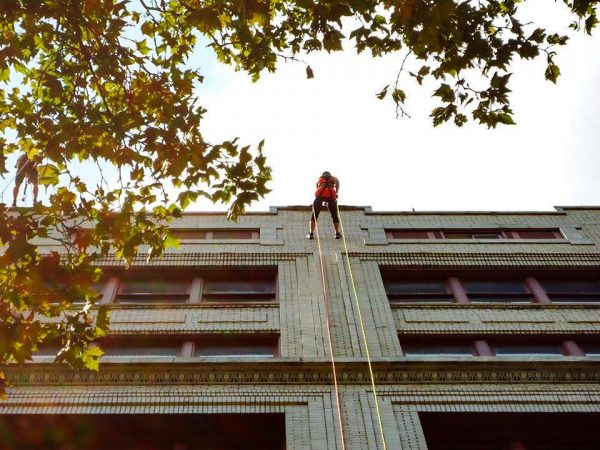 "Mey participated in the YWCA's ""Over the Edge Challenge"" in August 2014."